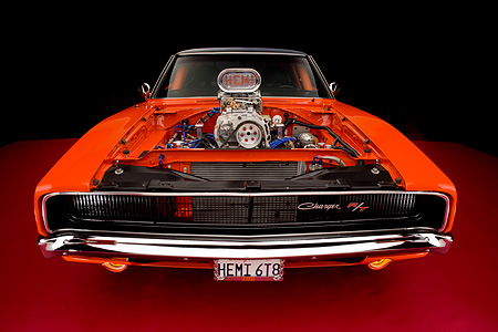 AUT 22 RK2325 01 © Kimball Stock 1968 Dodge Charger Hemi Orange Head On Wide Angle Shot With Engine