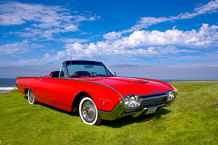 AUT 22 RK2341 01 © Kimball Stock 1962 Ford Thunderbird Sports Roadster Red 3/4 Front View On Grass