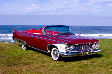 AUT 22 RK2348 01 © Kimball Stock 1960 Plymouth Fury Convertible Plum Red 3/4 Front View On Grass By Water