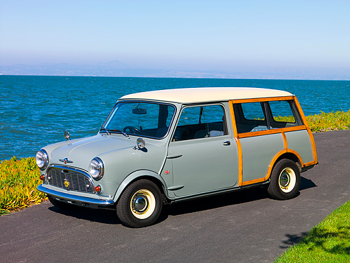 AUT 22 RK2375 01 © Kimball Stock 1965 Morris Mini Minor Traveller Woody Gray 3/4 Side View On Pavement By Water