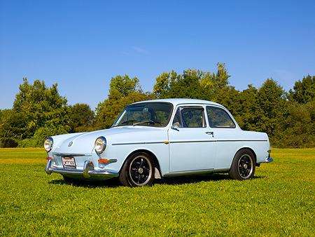 AUT 22 RK2391 01 © Kimball Stock 1965 Volkswagen Type 3 Notchback Bahama Blue 3/4 Low Side View On Grass Trees Background