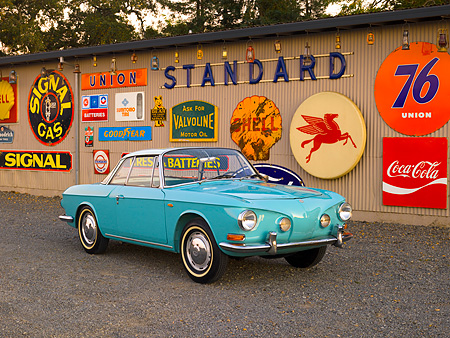 AUT 22 RK2398 01 © Kimball Stock 1964 Volkswagen Karmann Ghia Type 3 Pacific Blue  Front 3/4 View On Pavement By Decals