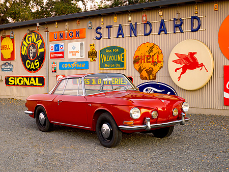 AUT 22 RK2401 01 © Kimball Stock 1963 Volkswagen Karmann Ghia Type 3 Ruby Red 3/4 Front View On Pavement By Decals