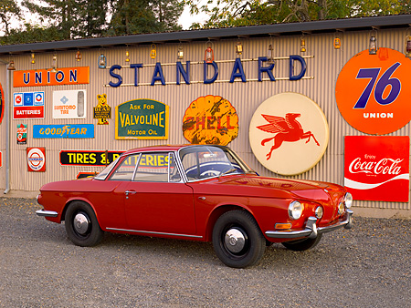 AUT 22 RK2402 01 © Kimball Stock 1963 Volkswagen Karmann Ghia Type 3 Ruby Red 3/4 Side View On Pavement By Decals