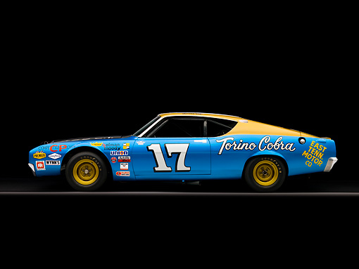 AUT 22 RK2421 01 © Kimball Stock 1969 Ford Torino Talladega Blue And Gold Profile View Studio