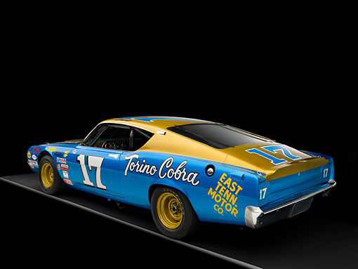 AUT 22 RK2424 01 © Kimball Stock 1969 Ford Torino Talladega Blue And Gold 3/4 Rear View Studio