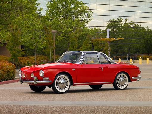 AUT 22 RK2451 01 © Kimball Stock 1963 Volkswagen Type 34 Karmann Ghia Red Black Top Low 3/4 Front View On Pavement