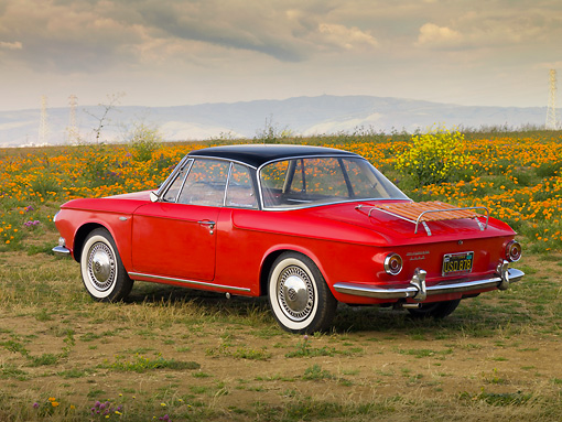 AUT 22 RK2452 01 © Kimball Stock 1963 Volkswagen Type 34 Karmann Ghia Red Black Top 3/4 Rear View In Field
