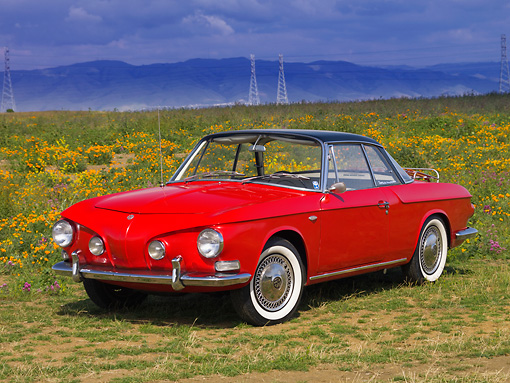 AUT 22 RK2457 01 © Kimball Stock 1963 Volkswagen Karmann Ghia Type 343 Red Black Top 3/4 Front View In Field