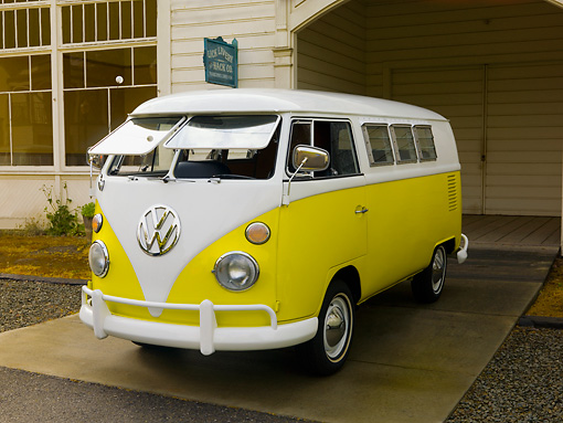 AUT 22 RK2465 01 © Kimball Stock 1966 Volkswagen Sundial Camper Yellow And White 3/4 Front View On Pavement
