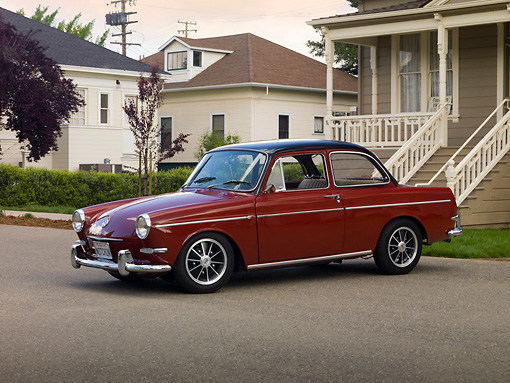 AUT 22 RK2489 01 © Kimball Stock 1965 Volkswagen 1500 Type 3 Notchback Burgundy 3/4 Side View On Pavement