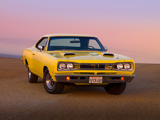 AUT 22 RK2521 01 © Kimball Stock 1969 Dodge Super Bee Yellow 3/4 Front View On Pavement