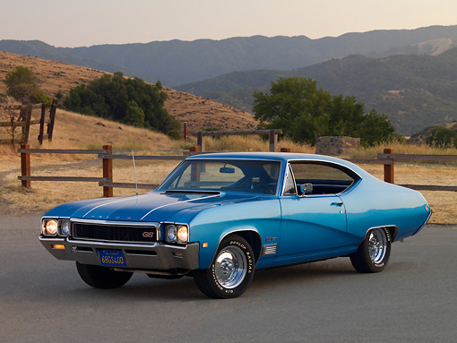 AUT 22 RK2533 01 © Kimball Stock 1968 Buick GS 400 Blue 3/4 Front View On Pavement