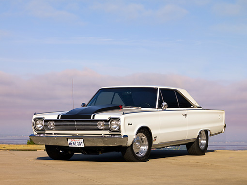 AUT 22 RK2552 01 © Kimball Stock 1966 Plymouth Hemi Satellite White 3/4 Front View On Pavmement