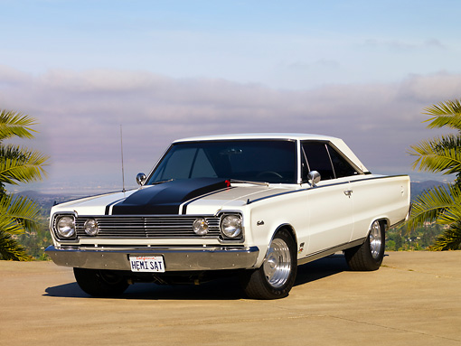 AUT 22 RK2553 01 © Kimball Stock 1966 Plymouth Hemi Satellite White 3/4 Front View On Pavmement