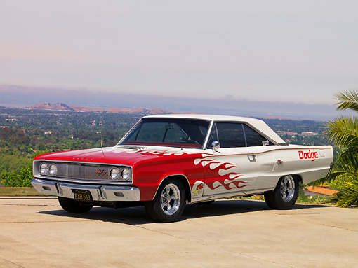 AUT 22 RK2557 01 © Kimball Stock 1967 Dodge Coronet R/T White Red Flames 3/4 Front View On Pavement