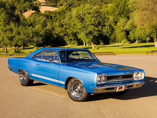 AUT 22 RK2560 01 © Kimball Stock 1968 Plymouth GTX Blue 3/4 Front View On Pavement