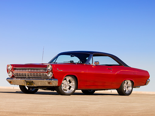1966 Mercury Comet Cyclone GT Red Black Top Low 3/4 Side