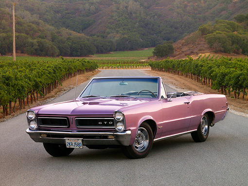 AUT 22 RK2617 01 © Kimball Stock 1965 Pontiac GTO Convertible Lavender Front 3/4 View On Pavement By Vineyard