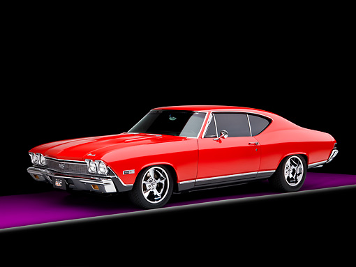AUT 22 RK2645 01 © Kimball Stock 1968 Chevrolet Chevelle SS 396 Red And Black 3/4 Front View Studio