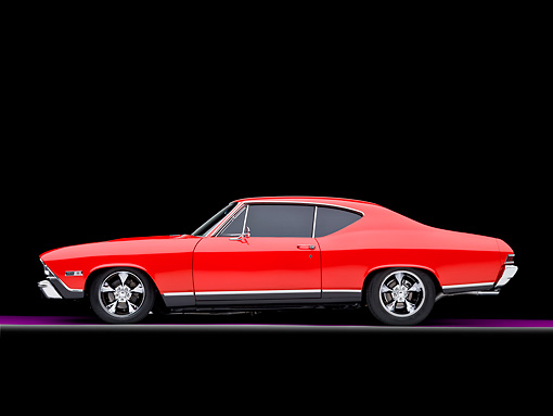 AUT 22 RK2646 01 © Kimball Stock 1968 Chevrolet Chevelle SS 396 Red And Black Profile View Studio