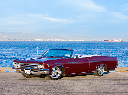 AUT 22 RK2647 01 © Kimball Stock 1966 Chevrolet Impala Super Sport Convertible Burgundy 3/4 Front View By Water