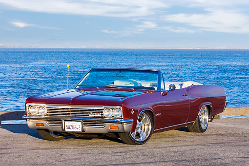 AUT 22 RK2648 01 © Kimball Stock 1966 Chevrolet Impala Super Sport Convertible Burgundy 3/4 Front View By Water
