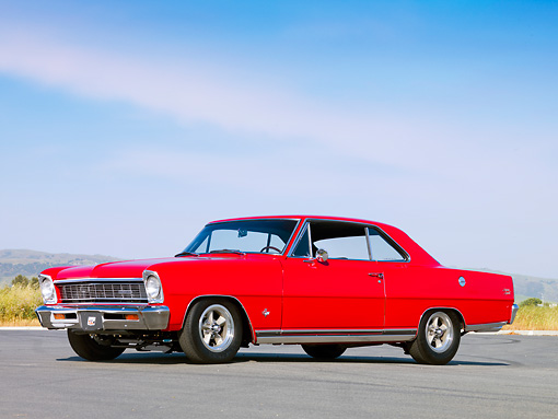 AUT 22 RK2658 01 © Kimball Stock 1966 Chevrolet Nova 327 SS Red 3/4 Front View Blue Sky