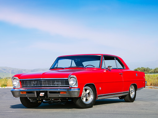 AUT 22 RK2659 01 © Kimball Stock 1966 Chevrolet Nova 327 SS Red 3/4 Front View Blue Sky