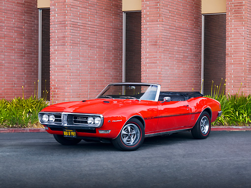 AUT 22 RK2664 01 © Kimball Stock 1968 Pontiac Firebird Convertible Red 3/4 Front View By Building