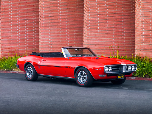 AUT 22 RK2665 01 © Kimball Stock 1968 Pontiac Firebird Convertible Red 3/4 Front View By Building