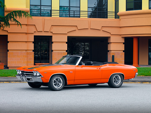 AUT 22 RK2666 01 © Kimball Stock 1969 Chevrolet Chevelle Convertible Hugger Orange 3/4 Front View By Building