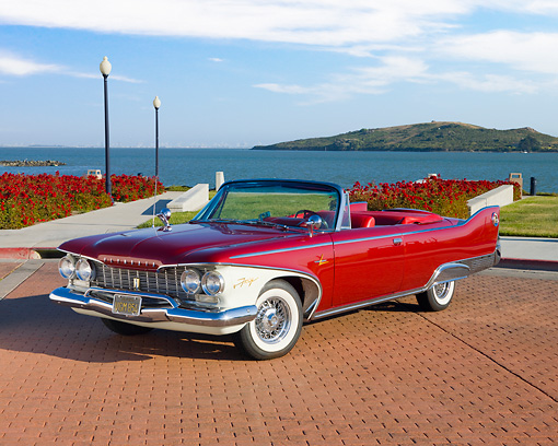 AUT 22 RK2677 01 © Kimball Stock 1960 Plymouth Fury Convertible Red 3/4 Front View By Water