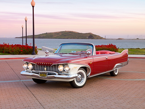 AUT 22 RK2679 01 © Kimball Stock 1960 Plymouth Fury Convertible Red 3/4 Front View By Water