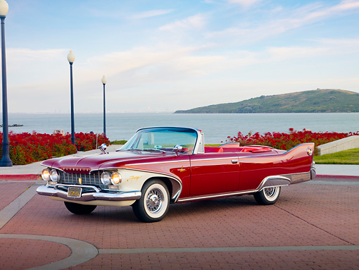AUT 22 RK2681 01 © Kimball Stock 1960 Plymouth Fury Convertible Red 3/4 Front View By Water