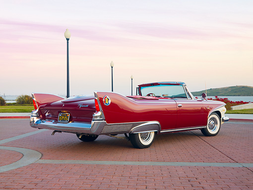 AUT 22 RK2682 01 © Kimball Stock 1960 Plymouth Fury Convertible Red 3/4 Rear View By Water