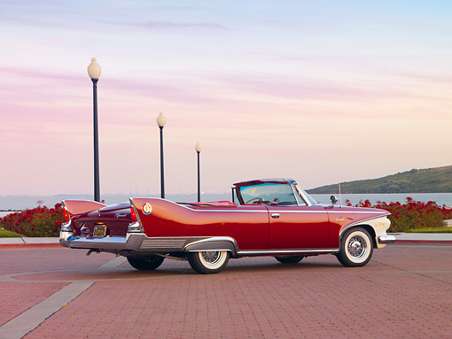 AUT 22 RK2683 01 © Kimball Stock 1960 Plymouth Fury Convertible Red 3/4 Rear View By Water