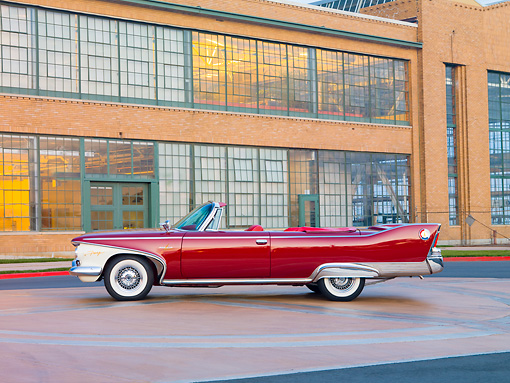AUT 22 RK2684 01 © Kimball Stock 1960 Plymouth Fury Convertible Red Profile View By Building