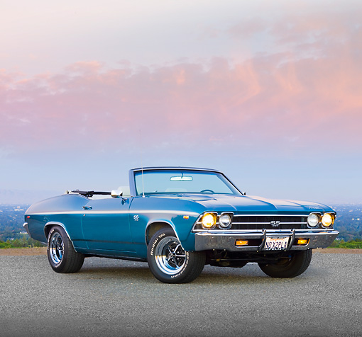 AUT 22 RK2694 01 © Kimball Stock 1969 Chevrolet Chevelle SS Convertible Blue 3/4 Front View On Pavement By Valley