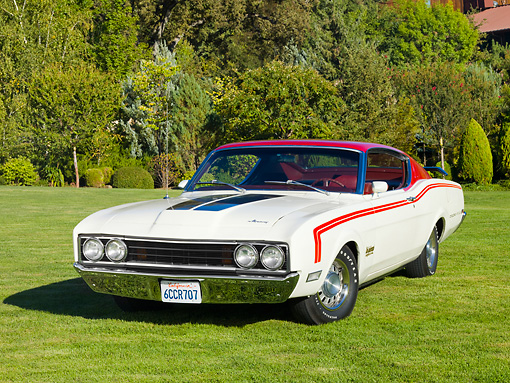 AUT 22 RK2704 01 © Kimball Stock 1969 Mercury Cyclone White And Red 3/4 Front View On Grass By Trees