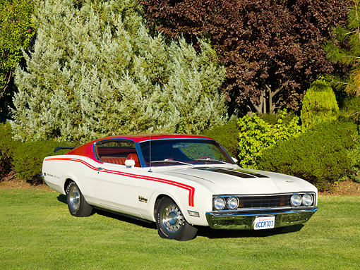 AUT 22 RK2705 01 © Kimball Stock 1969 Mercury Cyclone White And Red 3/4 Front View On Grass By Trees
