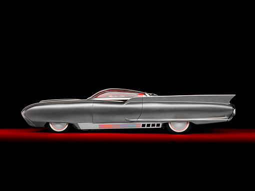 AUT 22 RK2733 01 © Kimball Stock 1961 Ford Thunderbird Silver Custom ThunderFlite Profile View Studio