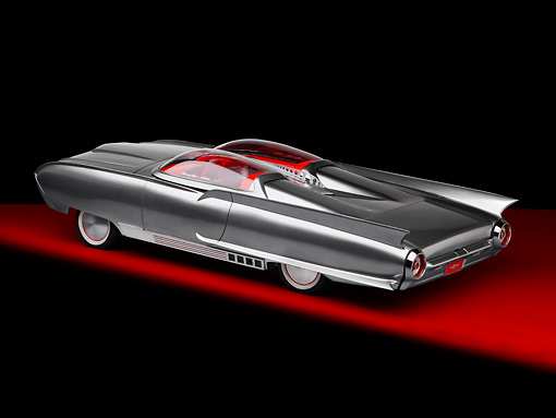 AUT 22 RK2743 01 © Kimball Stock 1961 Ford Thunderbird Silver Custom ThunderFlite 3/4 Rear View Studio