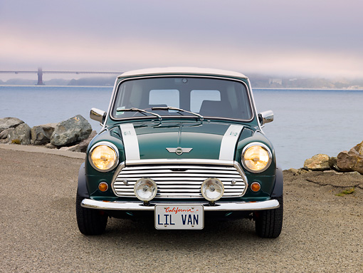 AUT 23 BK0061 01 © Kimball Stock 1978 Austin Mini Van Green Front View On Pavement By Bay