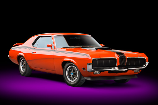 AUT 23 BK0080 01 © Kimball Stock 1970 Mercury Cougar Eliminator 428 Cobra Jet Orange 3/4 Front View In Studio