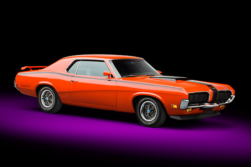 AUT 23 BK0081 01 © Kimball Stock 1970 Mercury Cougar Eliminator 428 Cobra Jet Orange 3/4 Front View In Studio