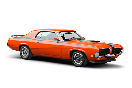 AUT 23 BK0082 01 © Kimball Stock 1970 Mercury Cougar Eliminator 428 Cobra Jet Orange 3/4 Front View On White Seamless