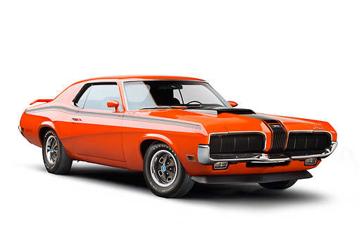 AUT 23 BK0083 01 © Kimball Stock 1970 Mercury Cougar Eliminator 428 Cobra Jet Orange 3/4 Front View On White Seamless