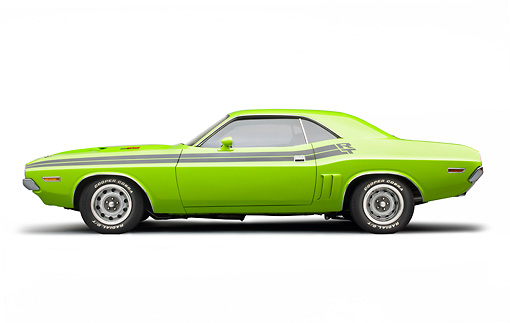 AUT 23 BK0085 01 © Kimball Stock 1971 Dodge Challenger RT Sublime Profile View On White Seamless