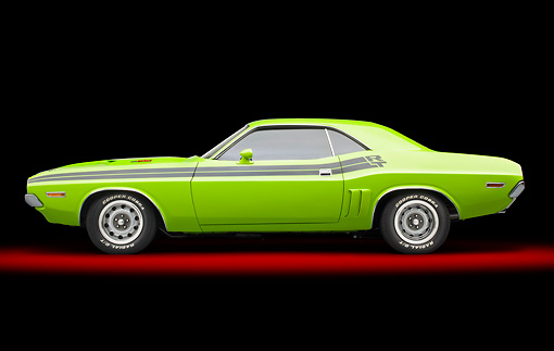 AUT 23 BK0086 01 © Kimball Stock 1971 Dodge Challenger RT Sublime Profile View In Studio